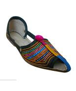 Women Sandals Indian Handmade Boho Leather Pointy Flats Mojari US 7 - $29.99