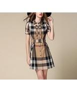 Boutique Beige Nova Check Frill Shirt Dress Belt Short Sleeves XXS XS S ... - $55.88