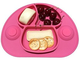 Aspiration Forte Set de table en silicone — assiette bébé ventouse (Rose) - $24.28