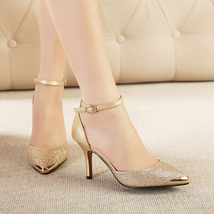 81S018 elegant ankle strappy sandals, US Size 5-8.5, gold - $48.80