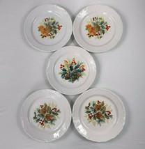 Gibson Grand Nobility Christmas Holiday Dessert Plates Pine Cones Lot of 5 - $24.70