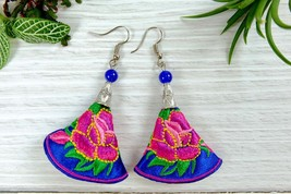 Floral Embroidery Dangle Earrings, Colorful Handmade Fabric Jewelry - $9.00
