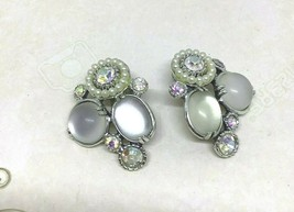 Vintage 60s Selini Rhinestone Moonstone Faux Pearl Clip On Earrings - $49.44
