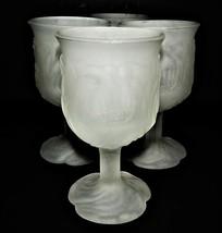 4 Avon Flower Frost White Frosted Goblet Wine Glass Votive 1979 Leaf Pat... - $49.49