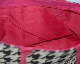 GANZ Brand Style 101 ER39334 Large Burlap Black Cream Purse Pink Handle image 4