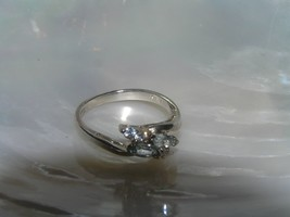 Estate 925 Silver Avon Signed Thin Band with Light Blue Clear Rhinestone... - $15.70