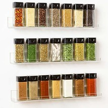 The 'Invisible' Acrylic Spice Rack Organizer:WITH SHELF ENDS 3 Pack Wall... - £21.82 GBP
