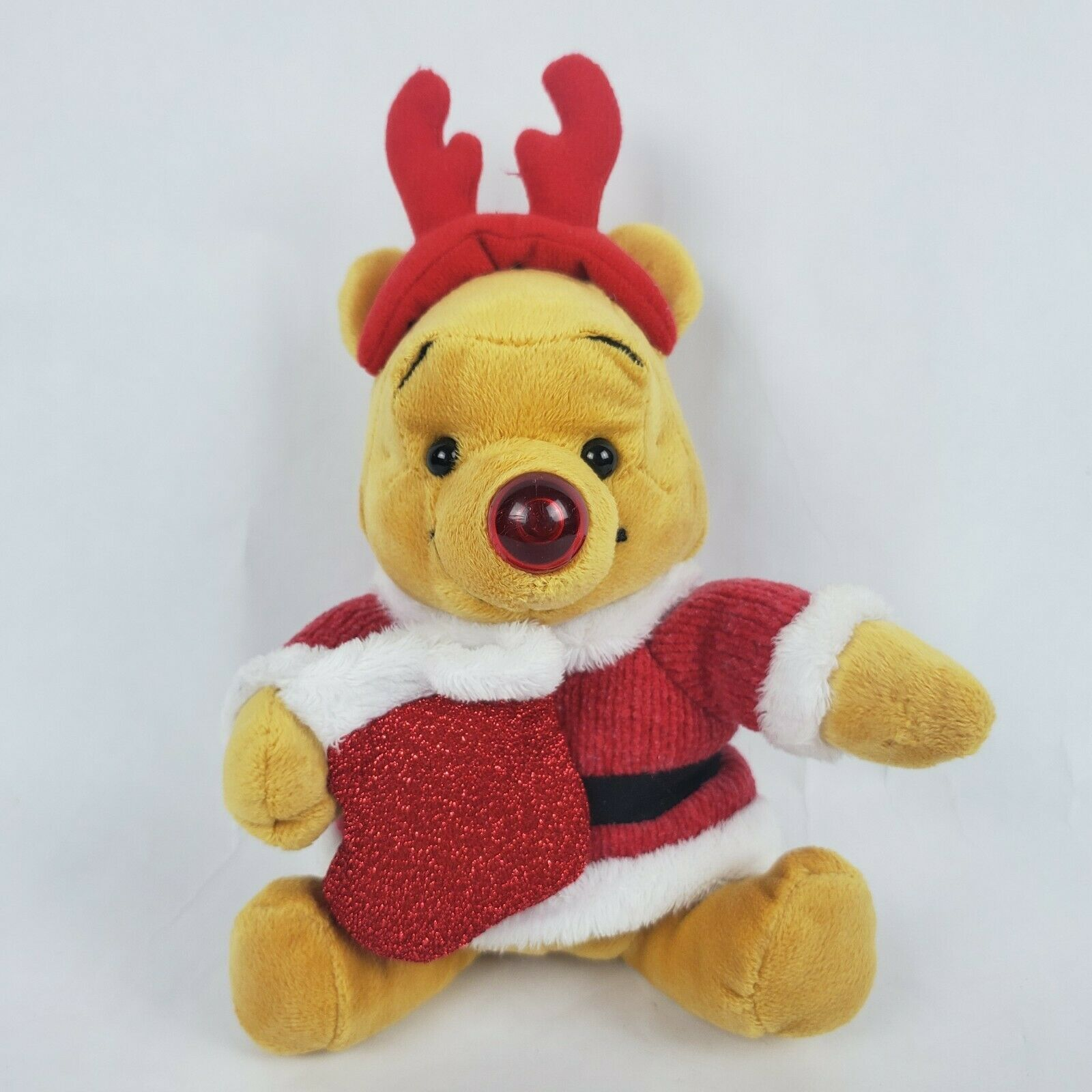 "Primary image for Disney Store Winnie the Pooh 8"" Plush Santa Holiday Musical Plush Nose Lights Up"