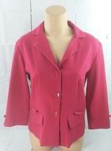 Dress Barn Cute Cheeky Pink Fuchsia Bow Long Sleeve Blazer Size 6 - $12.19