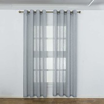 Aquazolax Linen Semi Sheer Curtains Short Voile (L63|Linen Sheer 4| Grey) - $35.73