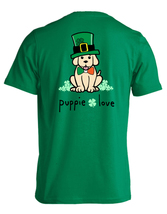Puppie Love Rescue Dog Men Women Short Sleeve Graphic T-Shirt, Shamrock Hat Pup image 1