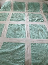 Handmade Quilt Candlewicking Green White for Cutters Crafts 72 x 80 - $91.74