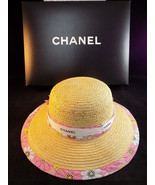 AUTHENTIC CHANEL LADIES WIDE BRIMMED STRAW SUN HAT WITH PINK FLORAL PATTERN - $485.09