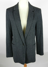 Ann Taylor LOFT 12 Womens Blazer Charcoal Gray LS One Button Front Colla... - $49.49