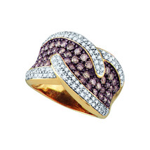 10k Yellow Gold Round Brown Diamond Cocktail Fashion Band Ring 2-1/10 - $1,582.00