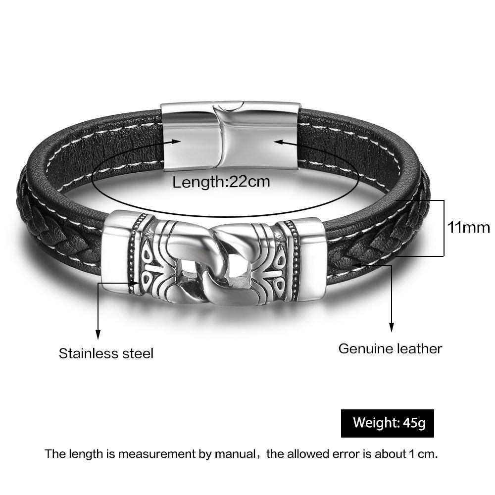 """Mens Stainless Steel Black Leather Braid Weave 8.5"""" Vintage Silver Bracelet"""