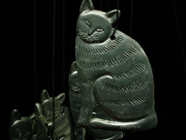 Kitty's Blowin' in the Wind Pewter Cat Spooniques Wind Chime