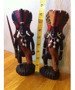 Wooden Handcrafted Pair of African Warriors Unique! - $22.50