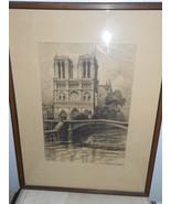 Original Art Etching Notre Dame du Paris signed - $250.00