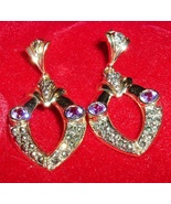 925 Sterling Silver Genuine Amethyst Earrings Gold Tone Marcasite Zirconias - $10.95