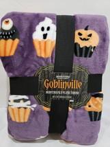 Berkshire Goblinville Halloween Cupcake Plush Fleece Throw Blanket 60 x 70 - $58.88 CAD