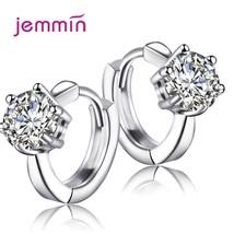 Women Trendy Round Hoop Earrings 925 Sterling Silver Korean Claw Design ... - $7.68