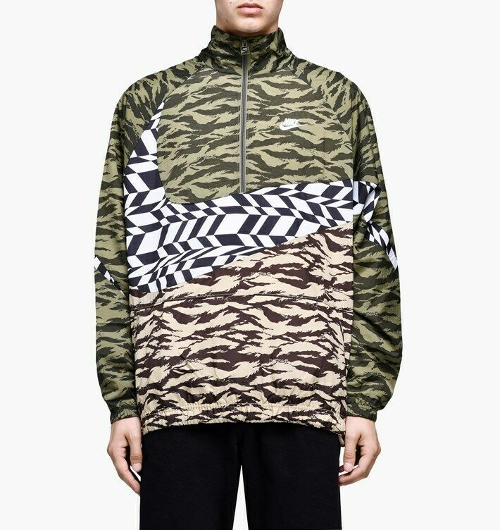 Primary image for Nike Men's Sportswear Woven Swoosh Jacket NEW AUTHENTIC Olive/White  AO0862-222