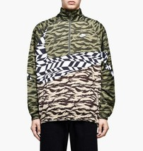 Nike Men's Sportswear Woven Swoosh Jacket NEW AUTHENTIC Olive/White  AO0... - $84.49