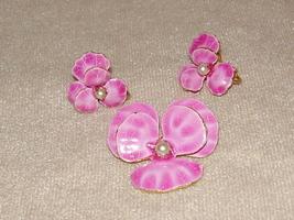 Vintage Accessocraft NYC Pink Pansy Enamel Demi-Parure - $13.95