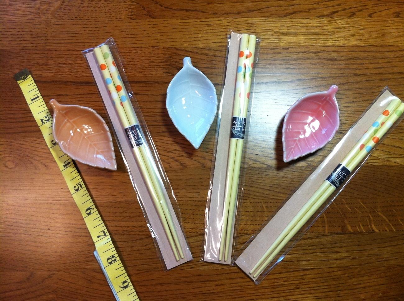 Chopsticks & Ceramic Leaf Soy Bowls Set of 3 Each New!