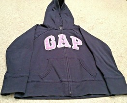 Girl's GAP Kids Navy Zip Up Hoodie With Lavender Sparkle Logo (6-7) - $14.03