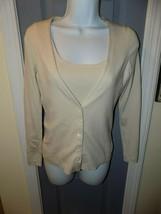 Ann Taylor LOFT Tank And Cardigan Button Front Beige 2 Piece Set Size XS... - $28.00