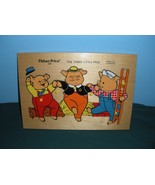 Vintage Fisher Price #520 Three Little Pigs Pick Up 'N Peek Wooden Puzzle! - $23.99