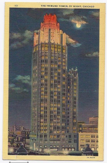 Primary image for 1939 - New Tribune Tower By Night - Chicago IL - Used