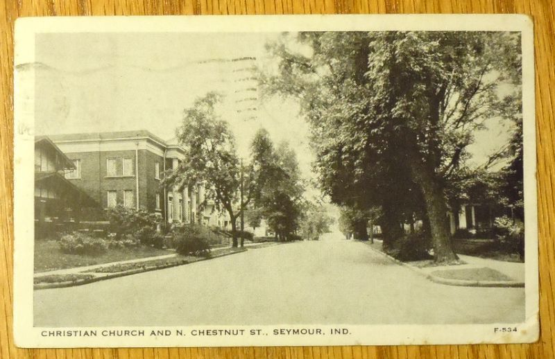 Primary image for 1951 - Christian Church & N. Chestnut St  - Seymour IN - Unused