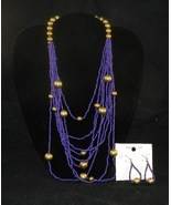 VAN HEUSEN 13 inch Purple and Gold Bead Necklace Earring Set NWT - $12.99