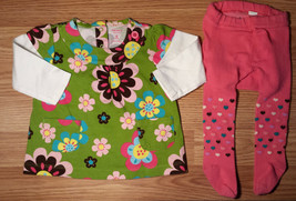Girl's Size 6 M 3-6 Months 2Pc Green Carter's Floral L/S Dress & Old Nav... - $11.00
