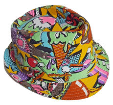 Carnival Fedora Hat Colorful Cap Multi Color Fun PartyHot Dogs Popcorn I... - $26.00