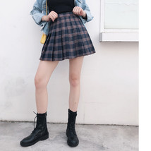 Plus Size RED Plaid Skirt Outfit High Waisted Full Pleated Plaid Tennis Skirts image 3