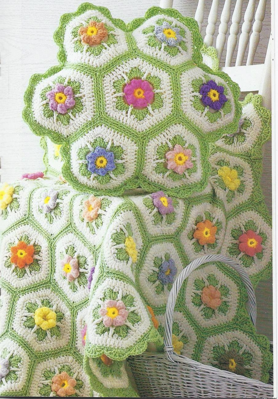 Modern Crochet Flower Pattern : Country Flowers Afghan and Pillow Crochet Pattern~RARE ...