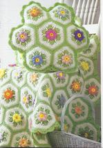 Country Flowers Afghan and Pillow Crochet Pattern~RARE  - $12.99