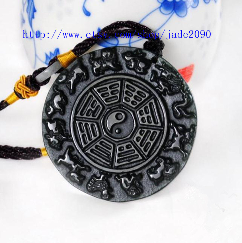 Primary image for Free shipping -  chinese Taoism gossip Natural black jade gossip charm jade Pend