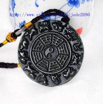 Free shipping -  chinese Taoism gossip Natural black jade gossip charm j... - $26.00