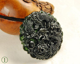 Free Shipping - Real Natural black Green jade craved Royal dragon jade pendant - $23.00