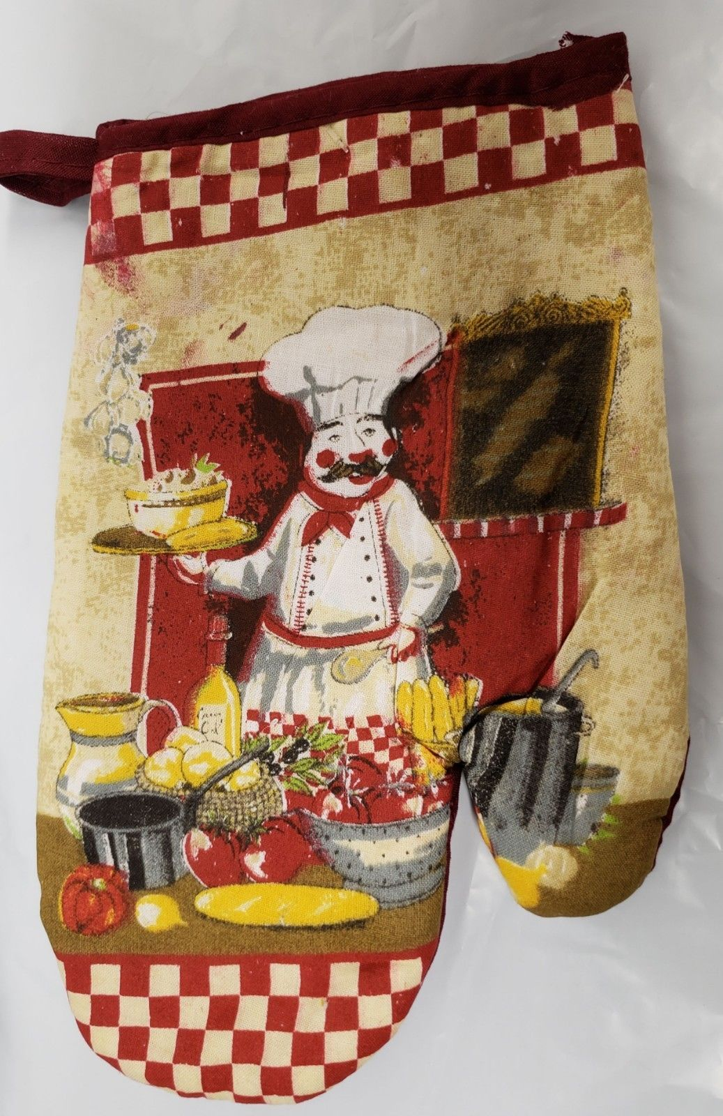 Primary image for Thin Printed KITCHEN Oven Mitt, FAT CHEF WITH TRAY by Andeya