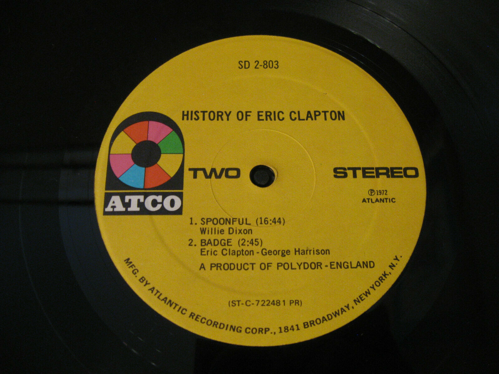 Eric Clapton History Of Atco SD 2-803 Stereo Double Vinyl Record LP image 6