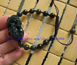 Free Shipping -  Handcrafted black jadeite jade beaded, natural jade beads charm - $23.00