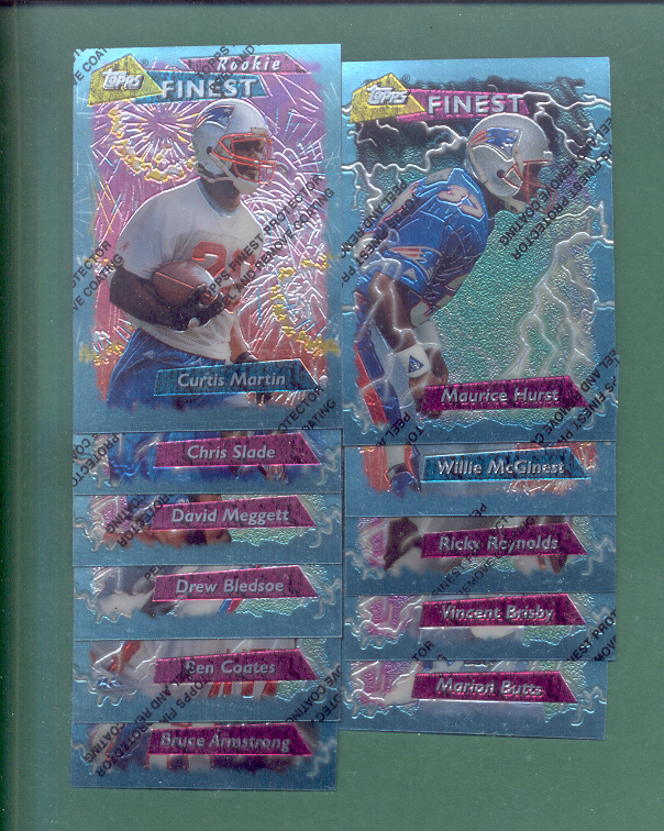 1995 Topps Finest New England Patriots Football Team Set