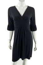 Ann Taylor LOFT Dress Sz 6 Black Solid V Neck 3/4 Ruffle Sleeve Stretch ... - $24.75