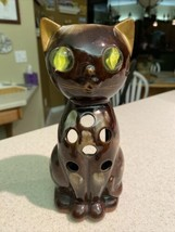 """Flawless Beautiful Inarco Japan Cat Candle Holder W/ Glass """"Cat Eye"""" Mar... - $14.52"""